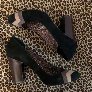 Missoni suede 3 tone pumps w block heels 8.5
